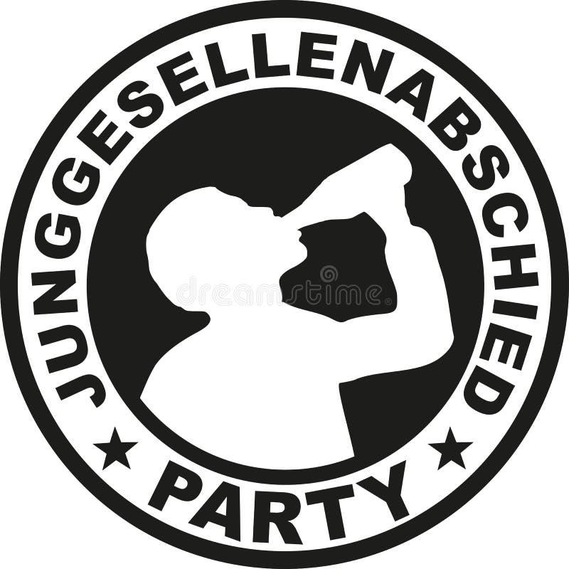 Emblema de la despedida de soltero con el hombre de consumición - alemán libre illustration