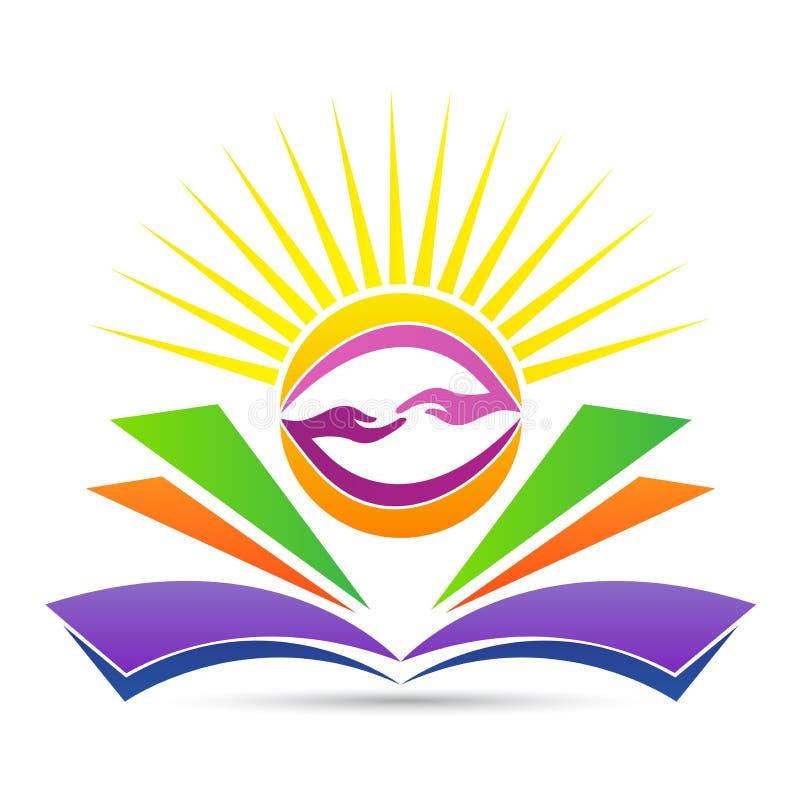 Emblema de la educación para el conocimiento amistoso brillante que comparte el logotipo ilustración del vector