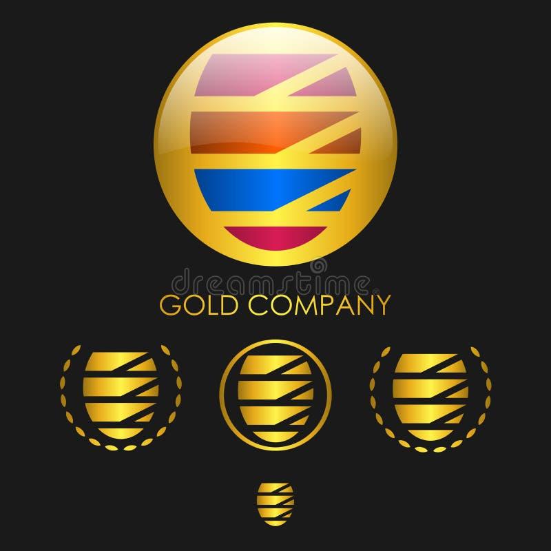 Emblema de la esfera del oro stock de ilustración