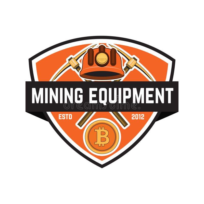 Emblema de la explotación minera de Cryptocurrency aislado en el fondo blanco Diseñe los elementos para el logotipo, etiqueta, em libre illustration