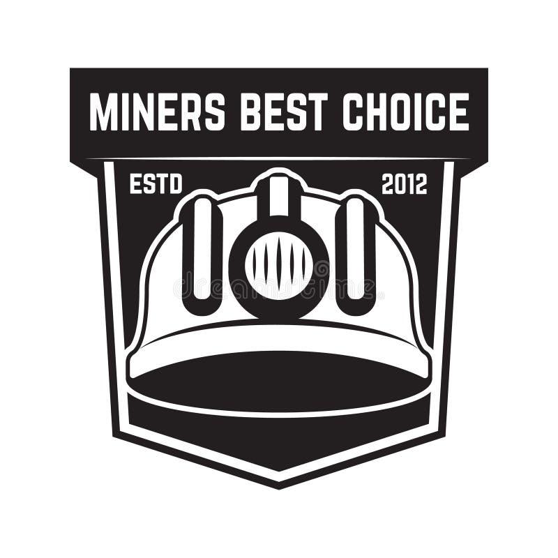 Emblema de la explotación minera de Cryptocurrency aislado en el fondo blanco Diseñe los elementos para el logotipo, etiqueta, em ilustración del vector
