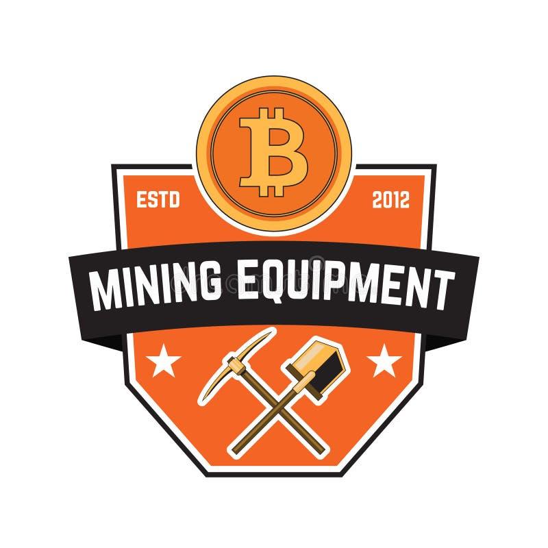 Emblema de la explotación minera de Cryptocurrency aislado en el fondo blanco Diseñe los elementos para el logotipo, etiqueta, em stock de ilustración