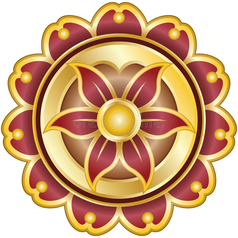 Emblema de la flor con los pedales en el oro, yoga libre illustration