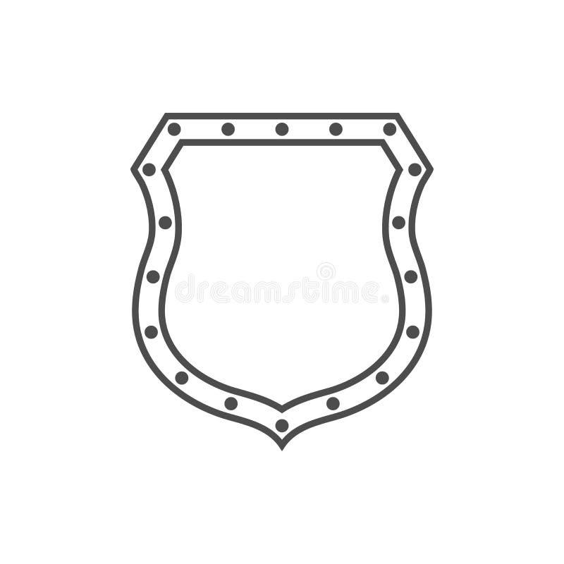Emblema de la forma del icono del escudo stock de ilustración