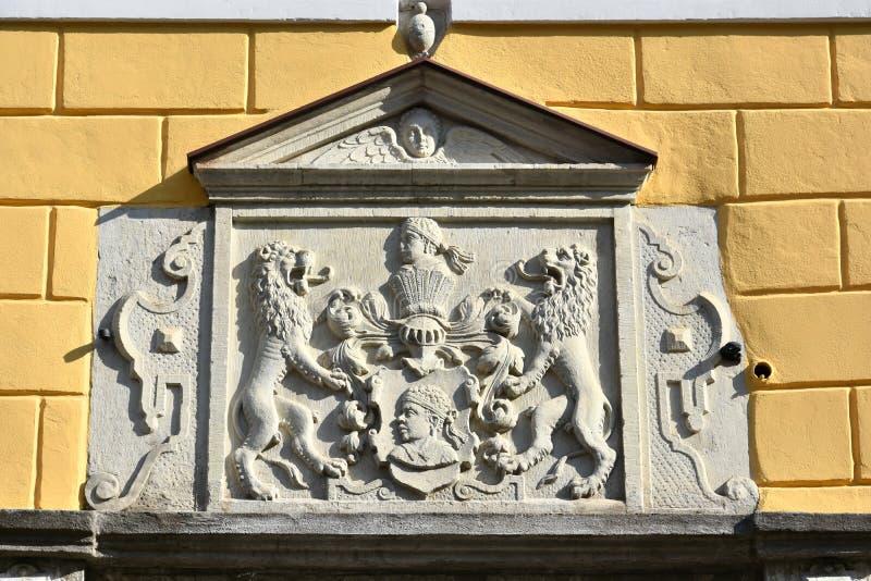 Emblema de la fraternidad de espinillas en Tallinn Estonia imagen de archivo