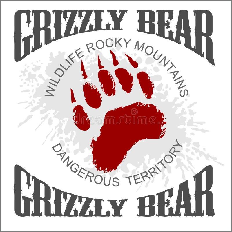 Emblema de la huella del oso grizzly - vector stock de ilustración