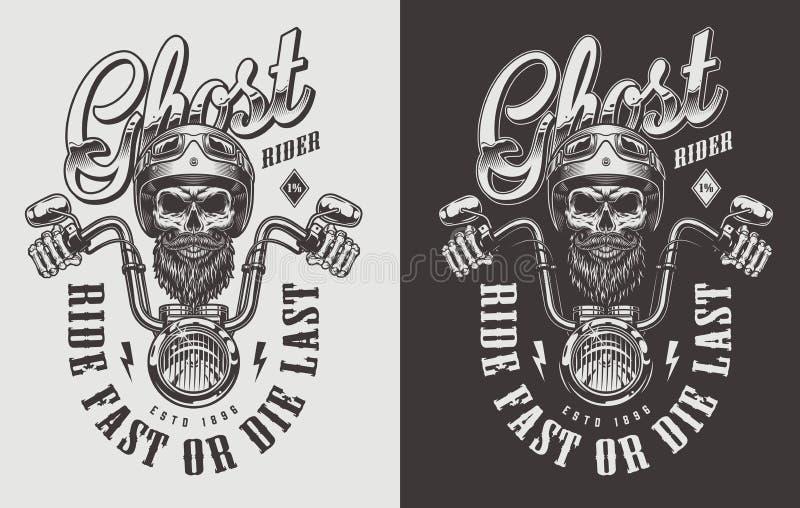 Emblema de la motocicleta con el cráneo libre illustration