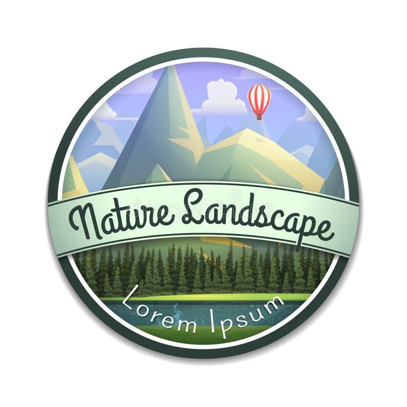 Emblema de la naturaleza del paisaje de la montaña con el río y el bosque conífero aislados en el fondo blanco stock de ilustración
