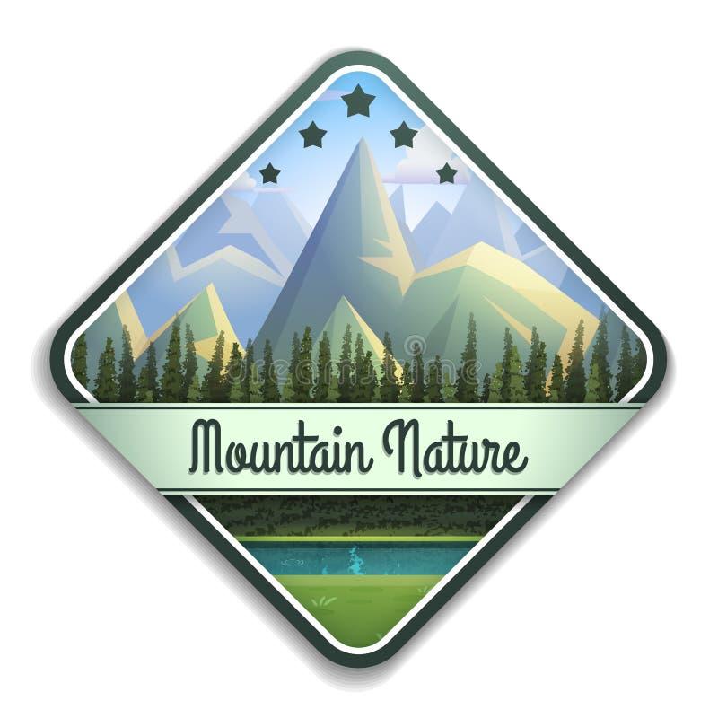 Emblema de la naturaleza del paisaje de la montaña con el río y el bosque conífero aislados en el fondo blanco ilustración del vector