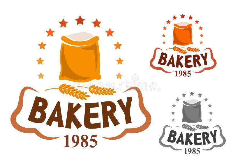 Emblema de la panadería con los oídos de la harina y del trigo ilustración del vector