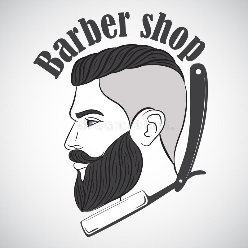 Emblema de la peluquería de caballeros del vintage, etiqueta, insignia, logotipo stock de ilustración