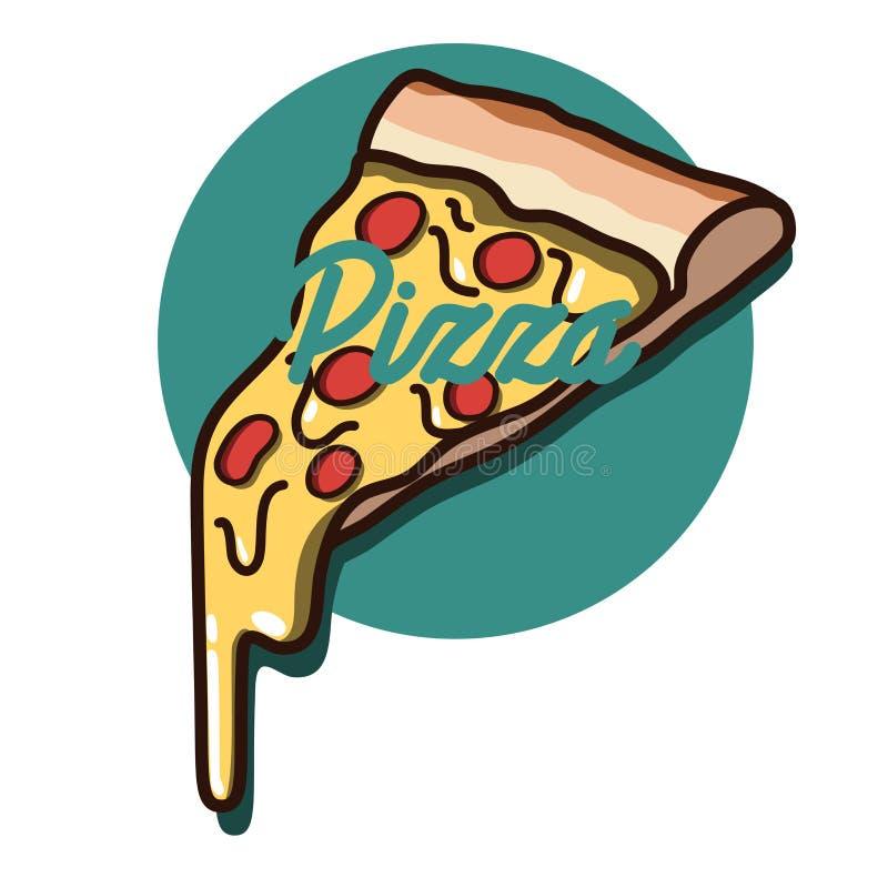 Emblema de la pizza del vintage del color libre illustration