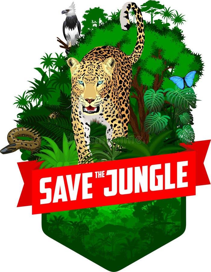 Emblema de la selva tropical de la selva del vector con la arpía, el jaguar, la anaconda y la mariposa azul del morpho ilustración del vector