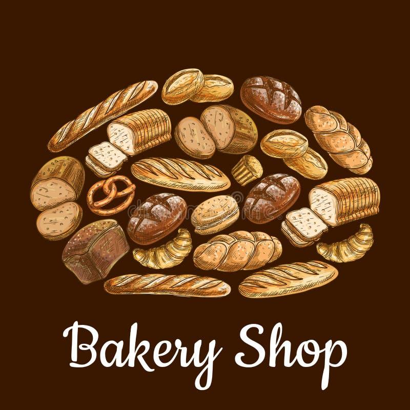 Emblema de la tienda de la panadería en la forma del pan del pan stock de ilustración