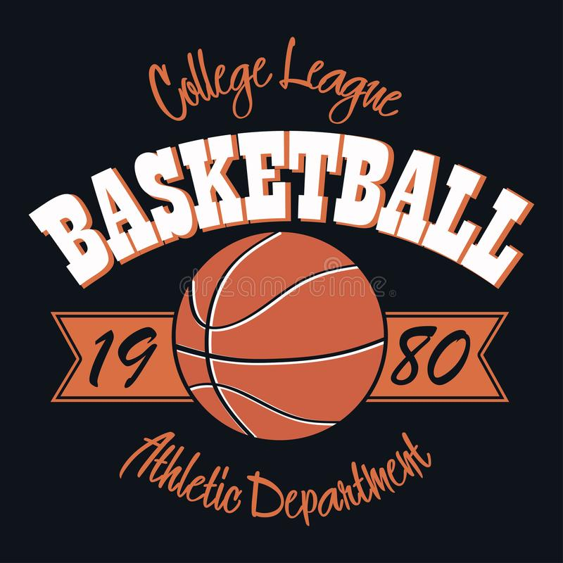 Emblema de la tipografía del baloncesto Gráficos del sello de la camiseta, impresión stock de ilustración