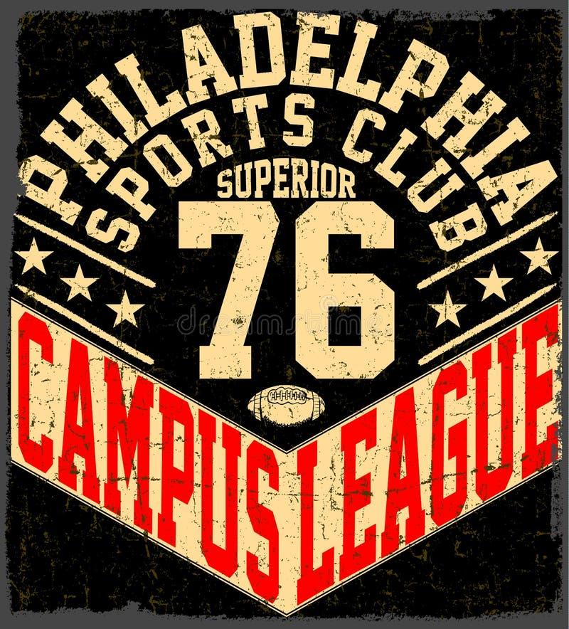 Emblema de la tipografía del desgaste del deporte de Nueva York, fútbol americano, vintage ilustración del vector
