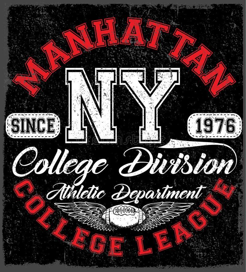 Emblema de la tipografía del desgaste del deporte de Nueva York, fútbol americano, vintage libre illustration