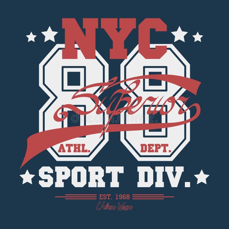 Emblema de la tipografía del desgaste del deporte de Nueva York stock de ilustración