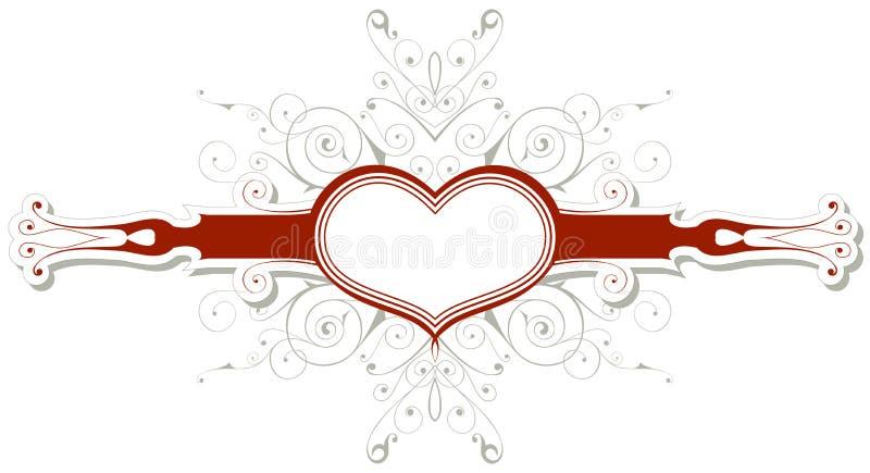 Emblema de la vendimia con el corazón ilustración del vector
