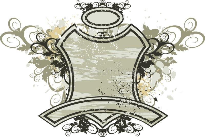 Emblema de la vendimia - ornamento de las flores en fondo del grunge stock de ilustración
