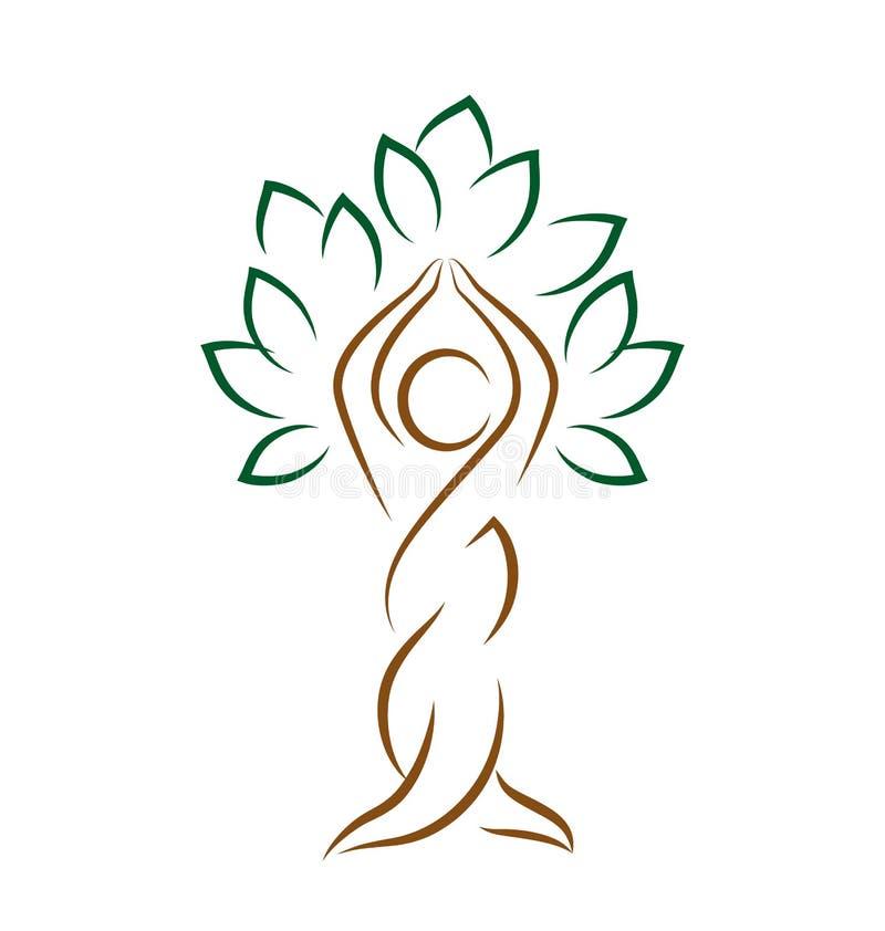 Emblema de la yoga con actitud abstracta del árbol aislado en blanco ilustración del vector