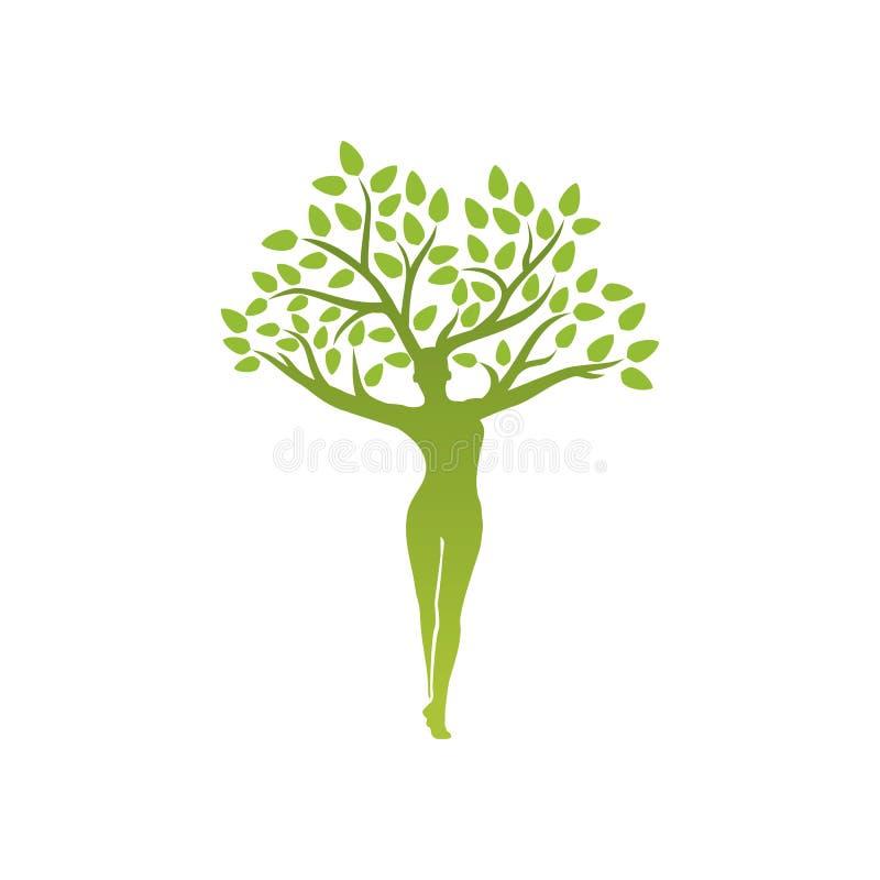 Emblema de la yoga con el árbol abstracto de la mujer stock de ilustración