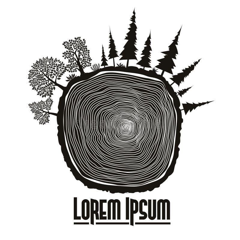 Emblema de madera del tocón, vector del tronco de árbol ilustración del vector