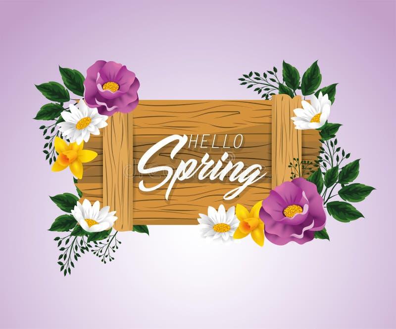 Emblema de madera de la primavera con las flores de la belleza ilustración del vector