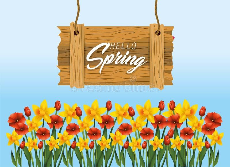 Emblema de madera de la primavera con las plantas exóticas de las flores ilustración del vector