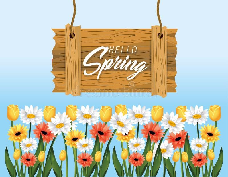 Emblema de madera de la primavera con las rosas y las plantas de las flores ilustración del vector