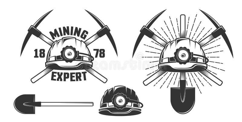 Emblema de mineração do vintage ilustração stock