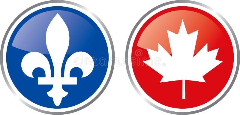 Emblema de Quebec y de Canadá stock de ilustración