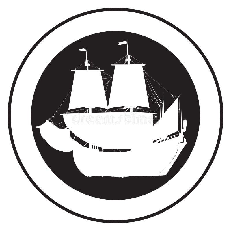 Emblema de una nave vieja stock de ilustración