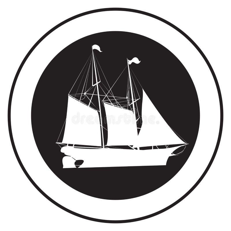 Emblema de una nave vieja ilustración del vector