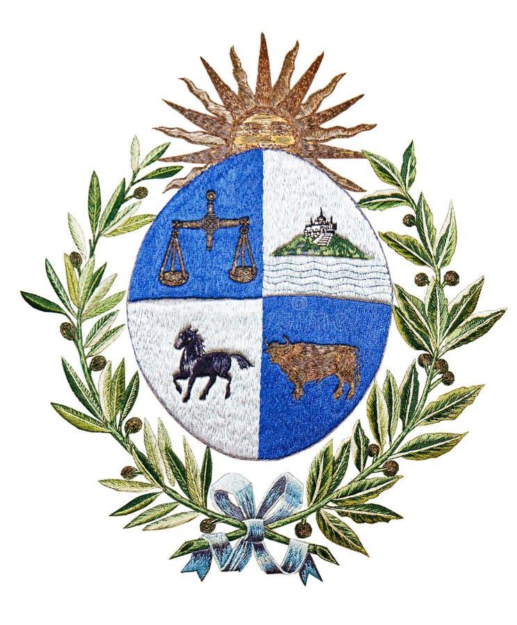 Emblema de Uruguai isolado no branco ilustração stock