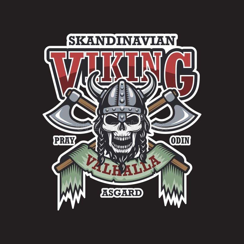 Emblema de Viking en fondo oscuro stock de ilustración