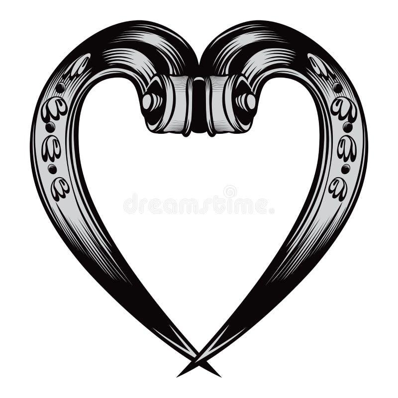 Emblema decorativo antiguo del corazón libre illustration