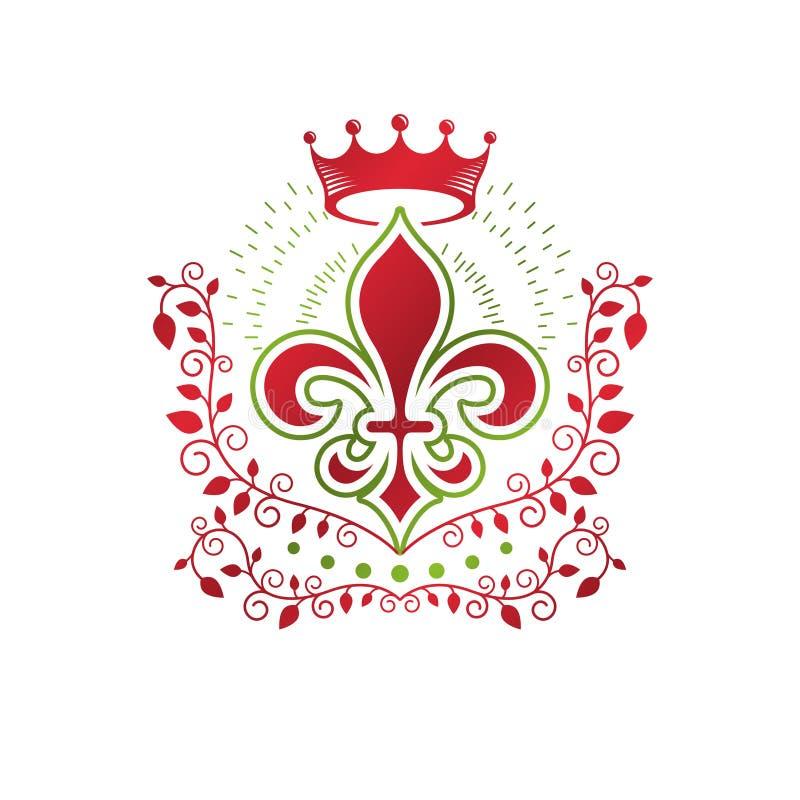 Emblema decorativo da brasão heráldica com flor e Roy do lírio ilustração stock