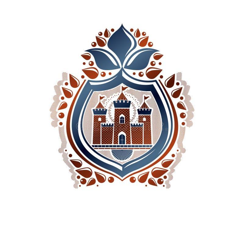 Emblema decorativo del escudo de armas heráldico con la flor medieval de la ciudadela y del lirio, ejemplo del vector Blindaje de libre illustration