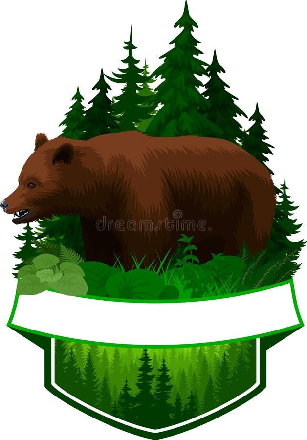 Emblema del arbolado del vector con el oso grizzly marrón libre illustration