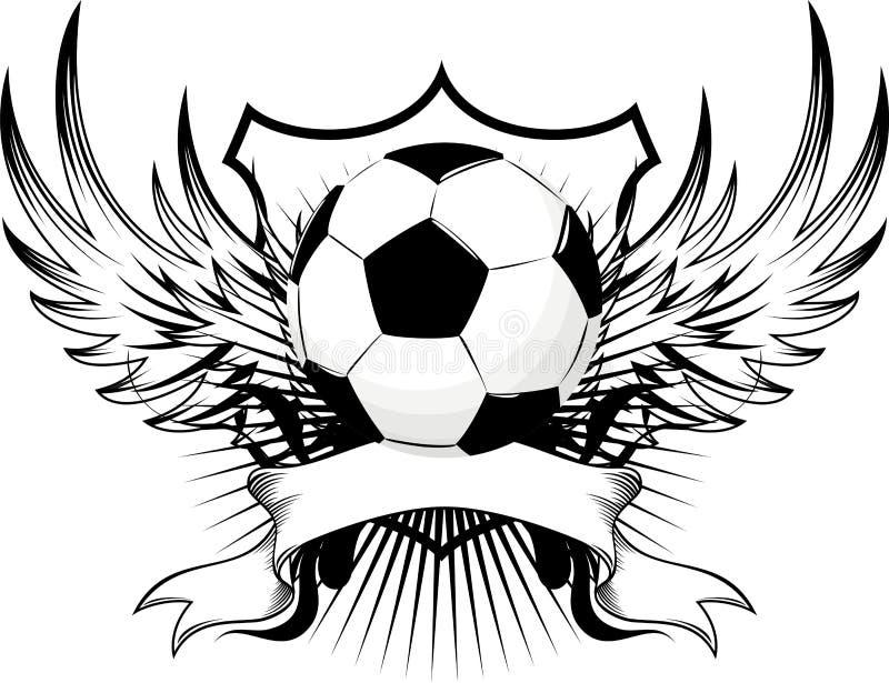 Emblema del balón de fútbol stock de ilustración