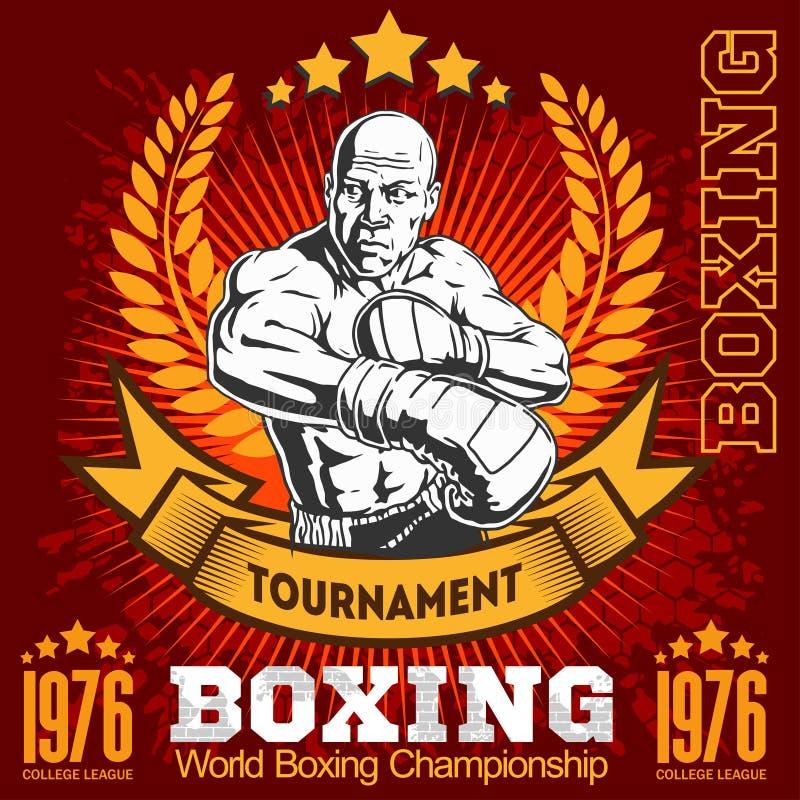 Emblema del boxeo del vintage, etiqueta, insignia, logotipo y elementos diseñados libre illustration