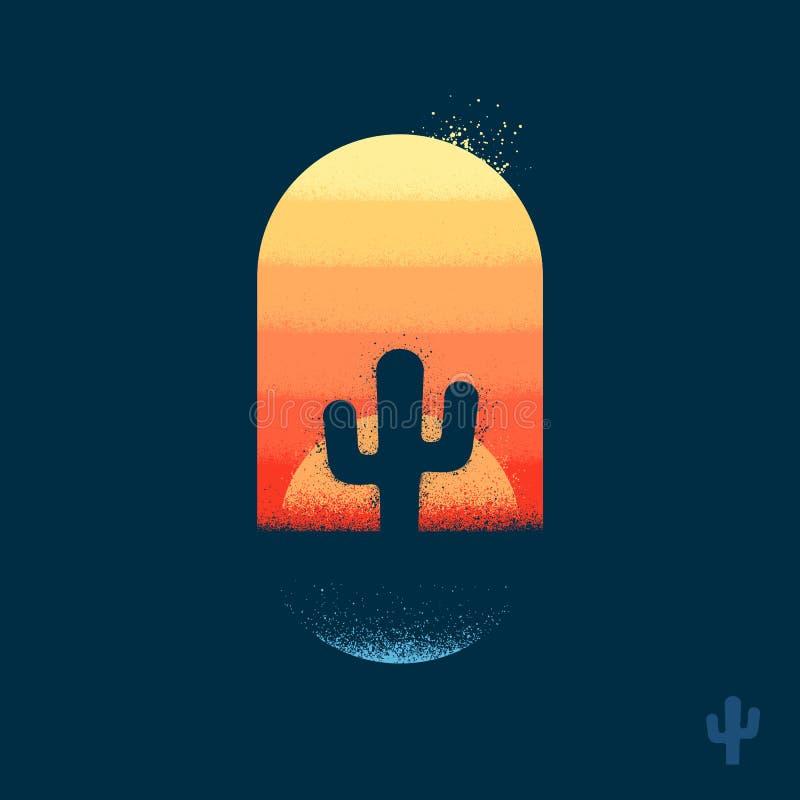 Emblema del cactus del deserto fotografia stock libera da diritti