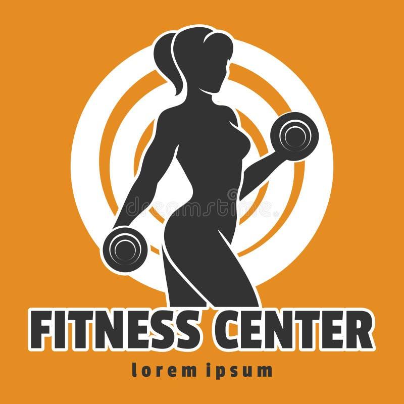 Emblema del centro de aptitud de la mujer del entrenamiento ilustración del vector