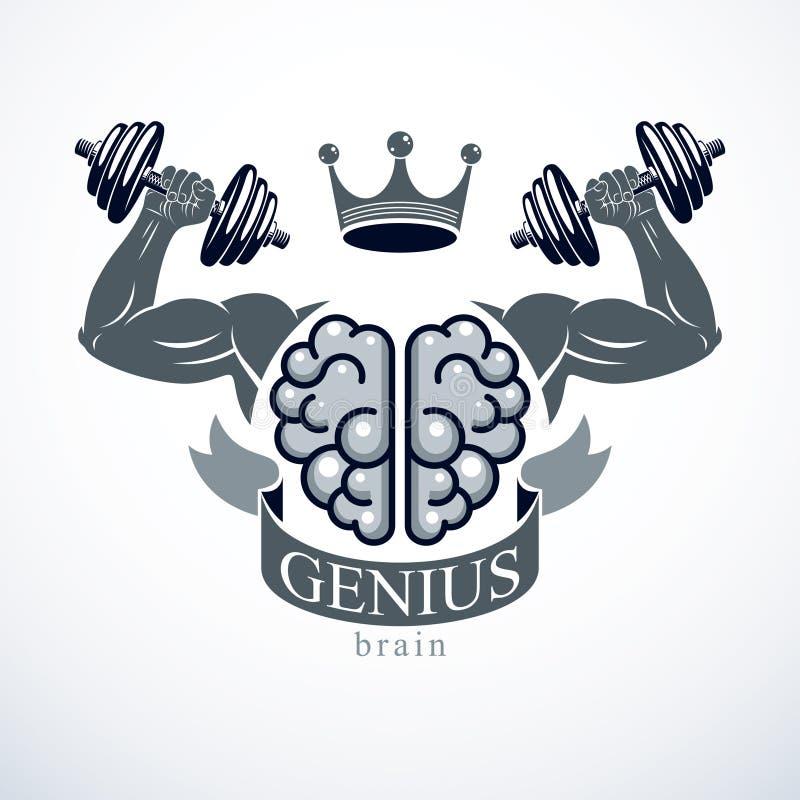 Emblema del cervello di potere, concetto del genio Vector la progettazione del cervello anatomico umano con le forti mani del bic royalty illustrazione gratis