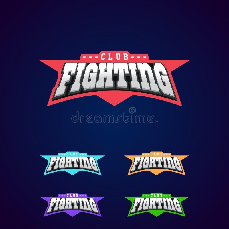 Emblema del club de la lucha Los artes marciales mezclados se divierten el logotipo en fondo oscuro stock de ilustración
