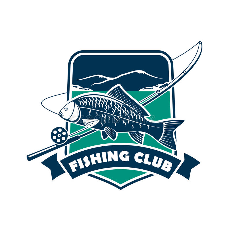 Emblema del club de la pesca para el deporte del pescador stock de ilustración