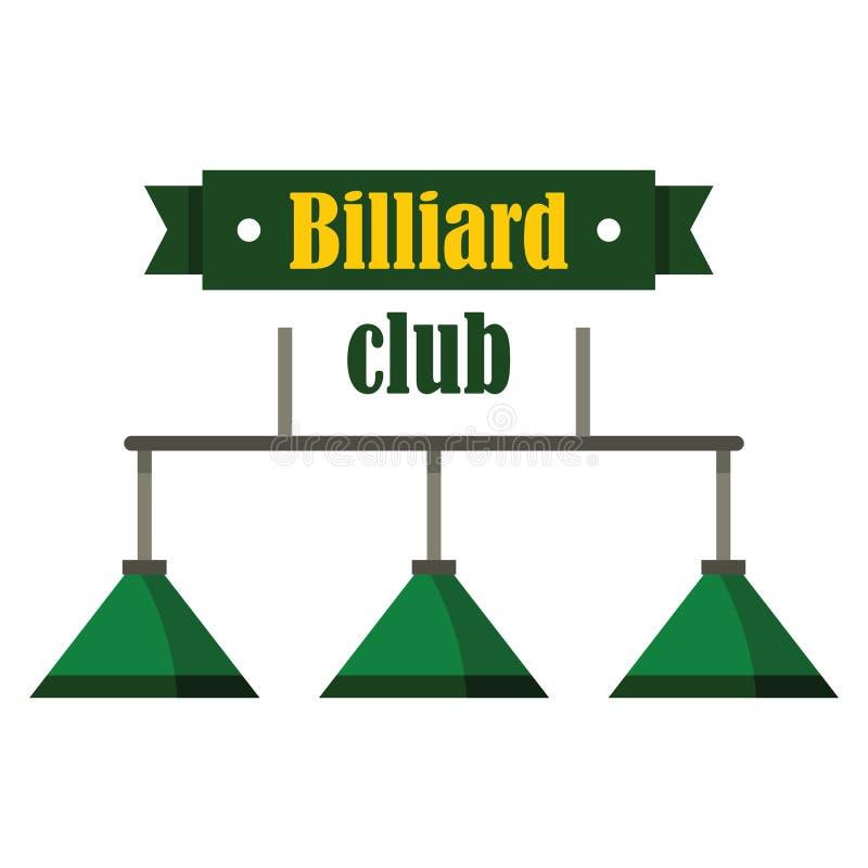 Emblema del club del biliardo nello stile piano illustrazione di stock