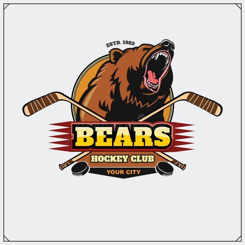 Emblema del club dell'hockey con la testa dell'orso royalty illustrazione gratis