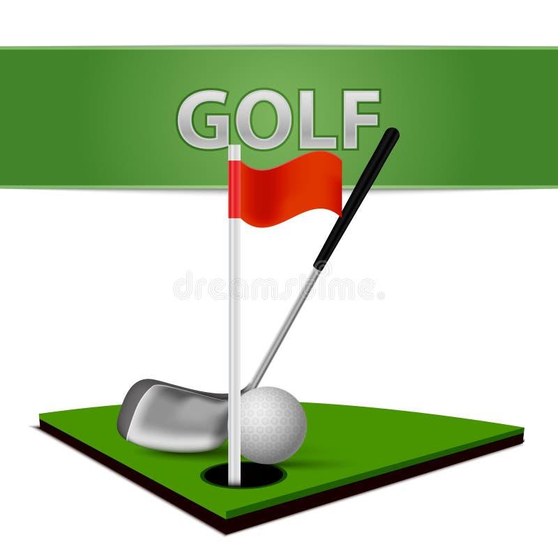 Emblema del club della palla da golf e dell'erba verde illustrazione di stock